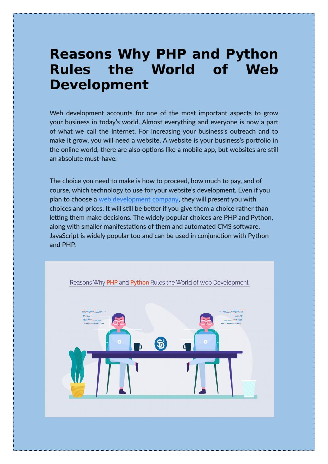 Reasons Why Php And Python Rules The World Of Web Development By Semidot Infotech Issuu
