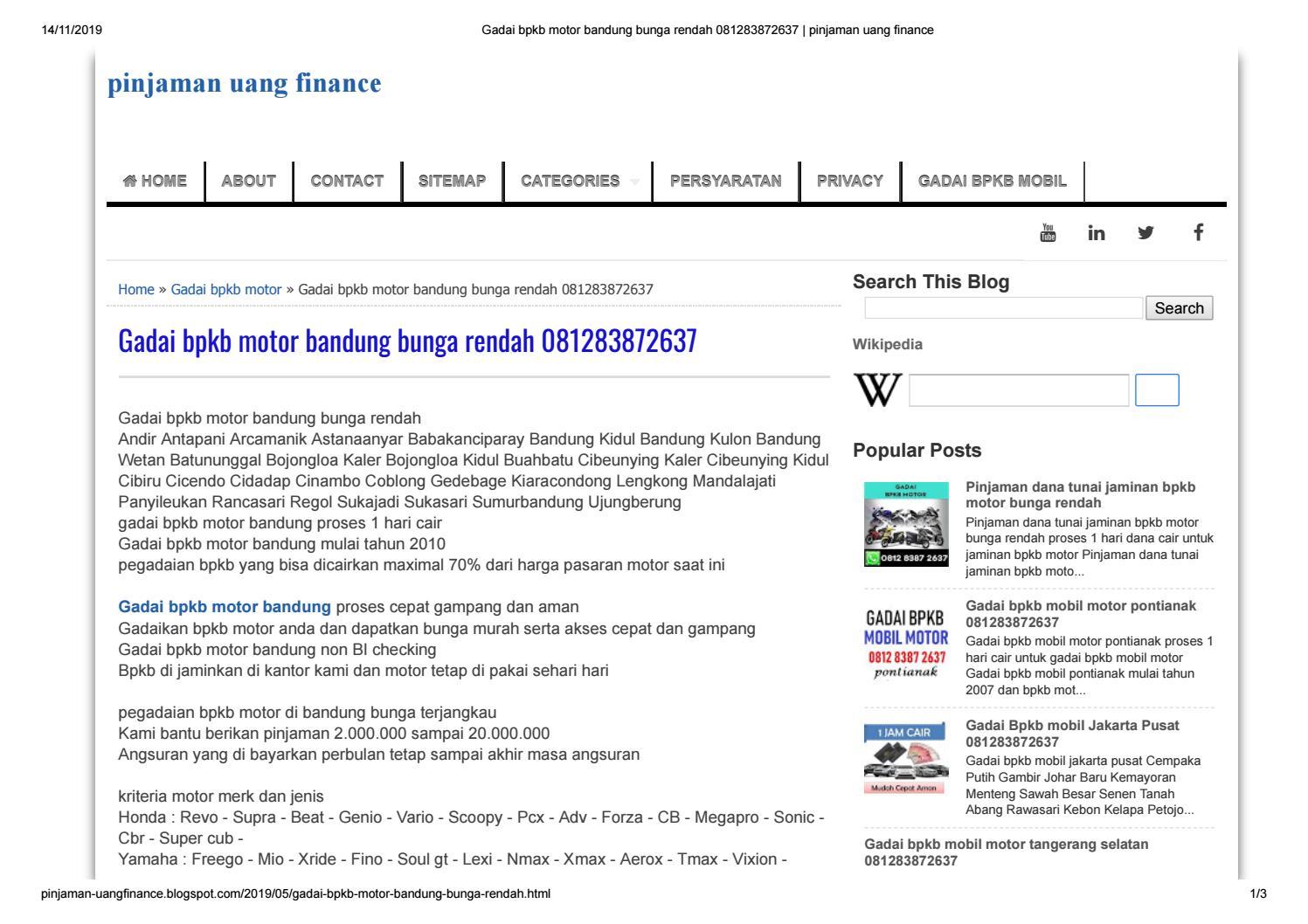 Gadai bpkb motor bandung 081283872637 by putrapinjaman - Issuu