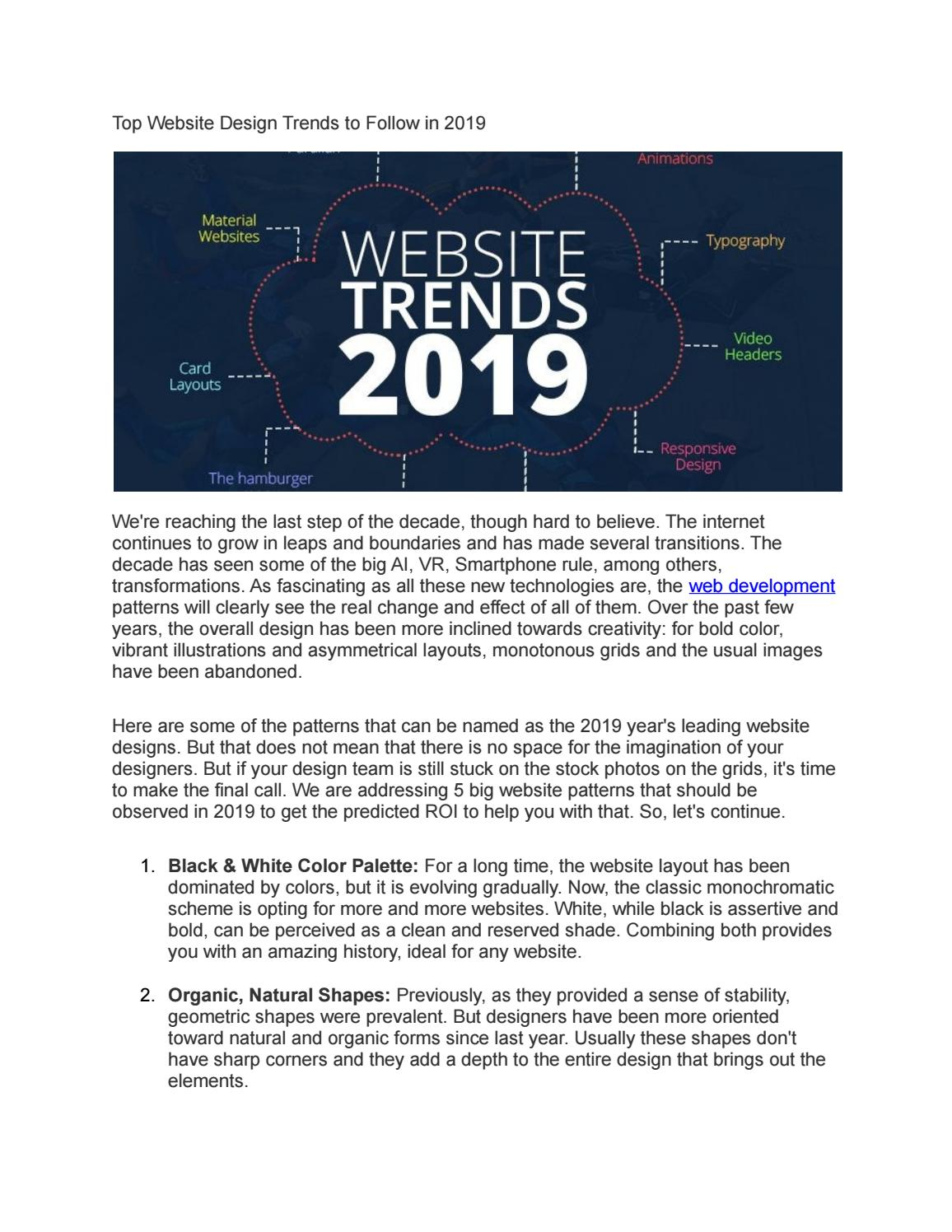 Top Website Design Trends To Follow In 2019 By Studioubique0 Issuu