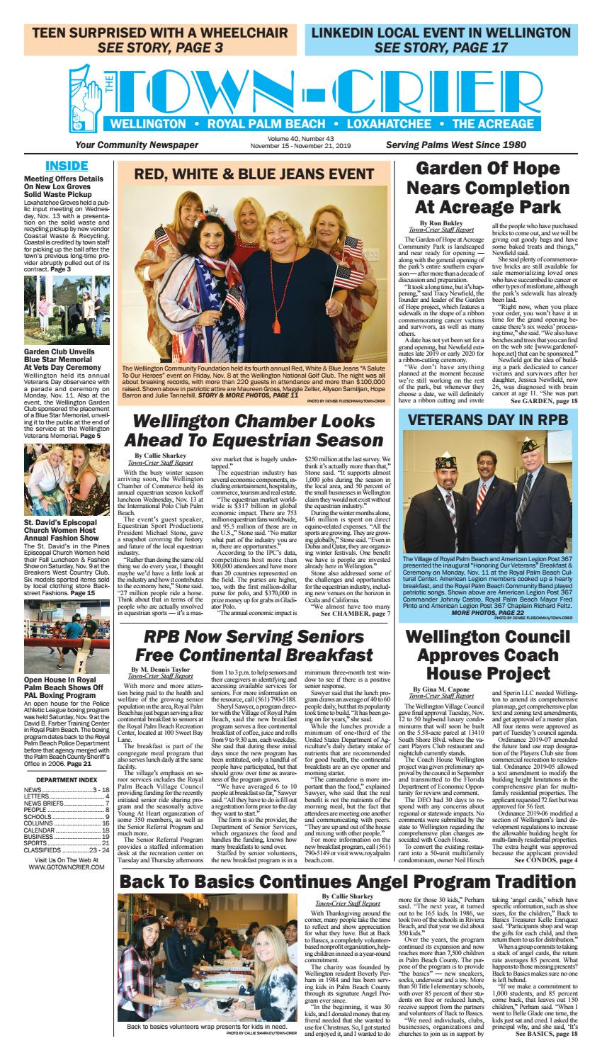 Town Crier Newspaper November 15 2019 By Wellington The Magazine Llc Issuu