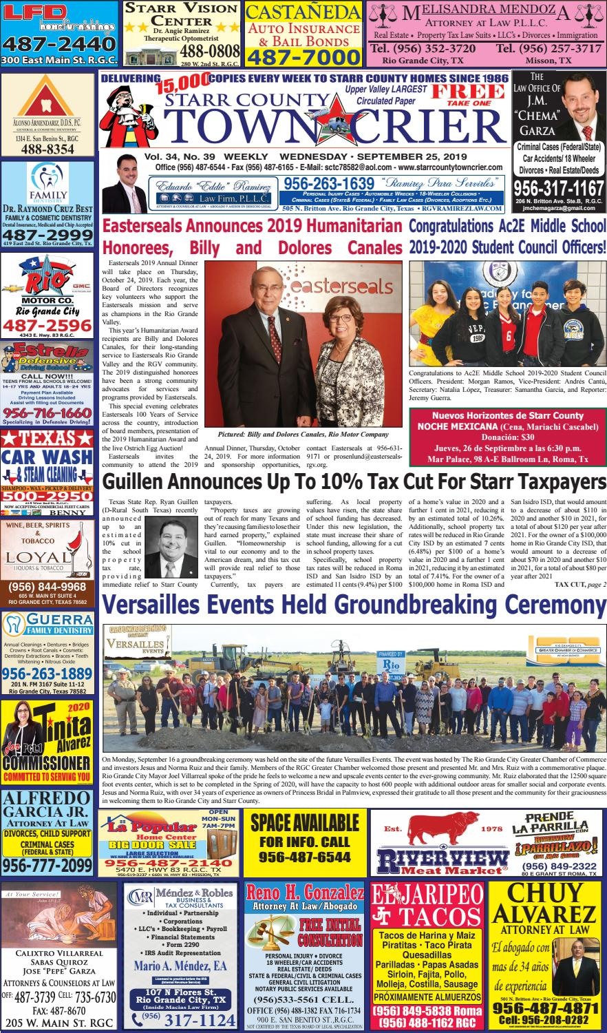 September 25 2019 By Starr County Town Crier Issuu