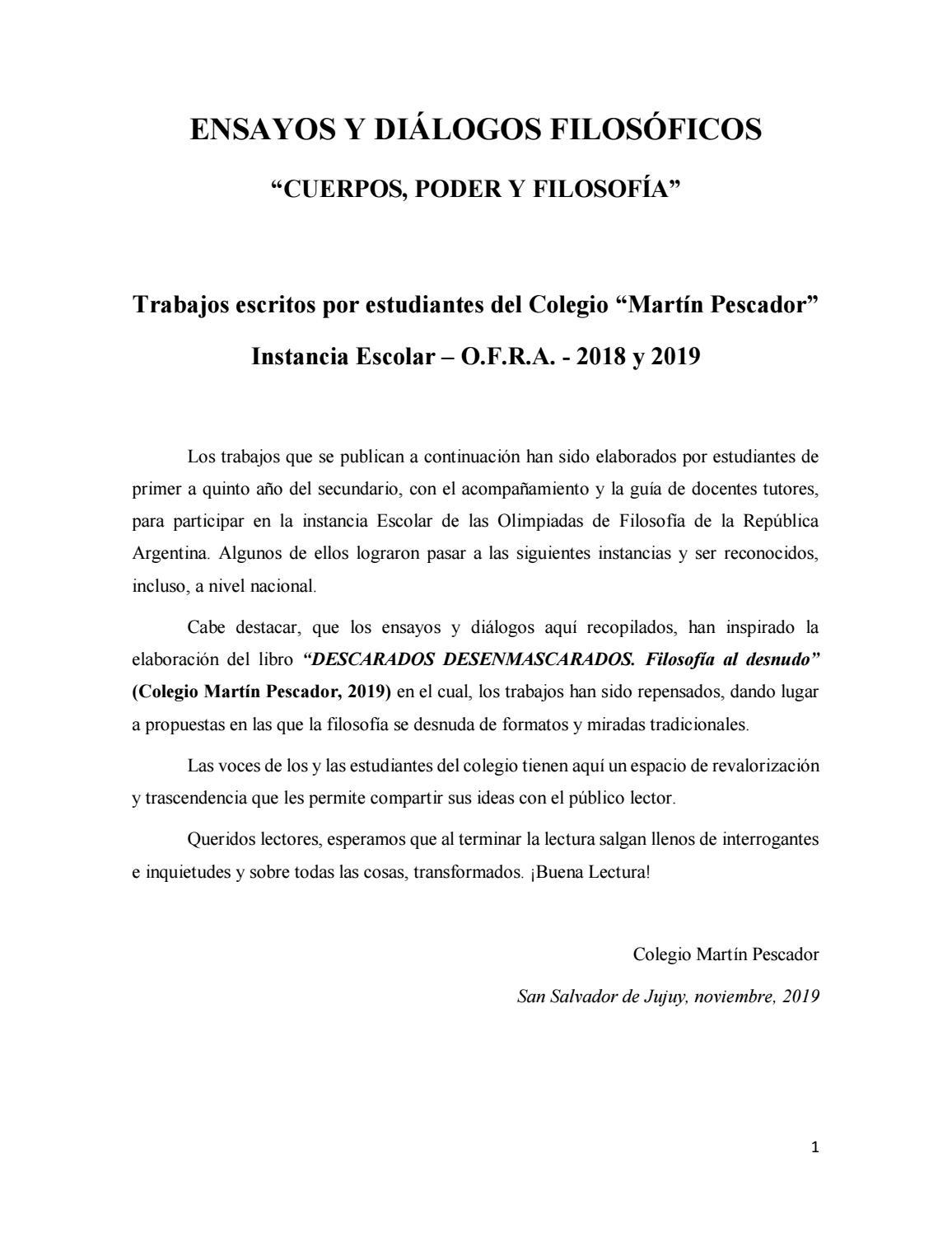 Ensayos Y Dialogos Filosoficos Cuerpos Poder Y Filosofia By Colegio Martin Pescador Secundario Issuu