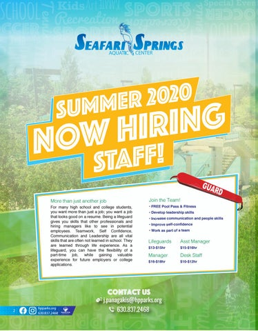 Page 2 of Now Hiring Summer Staff