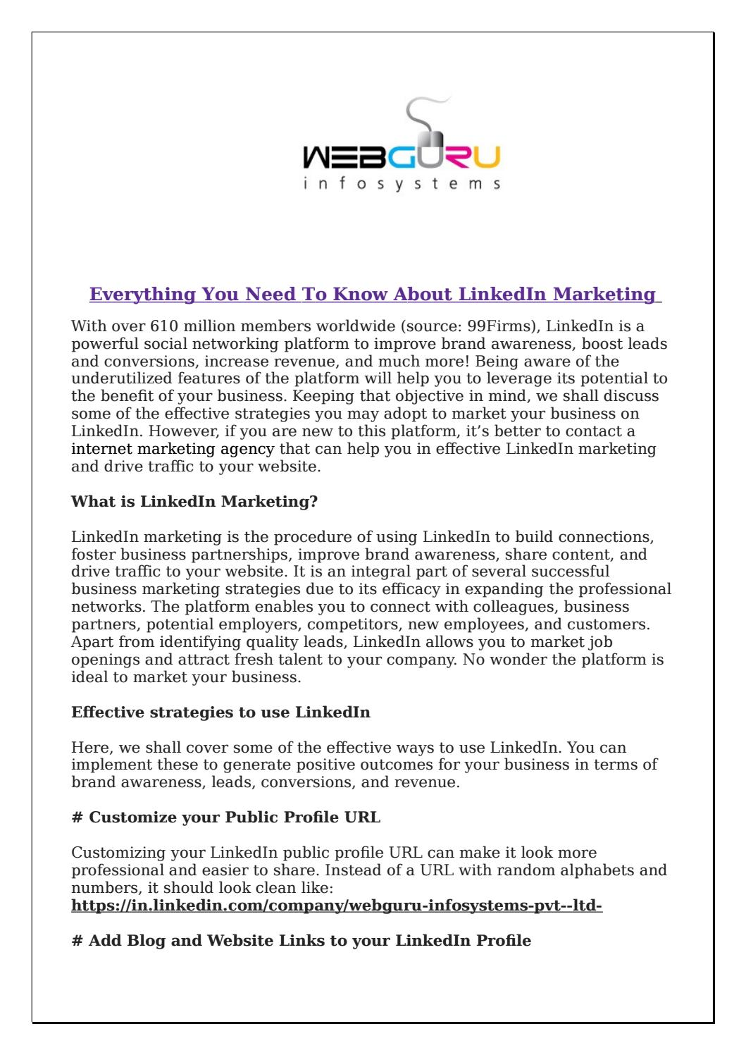 Everything You Need To Know About Linkedin Marketing By