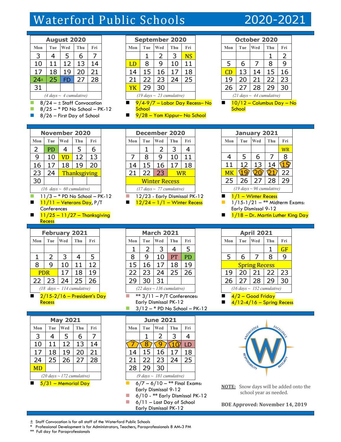 Waterford School Calendar 2021