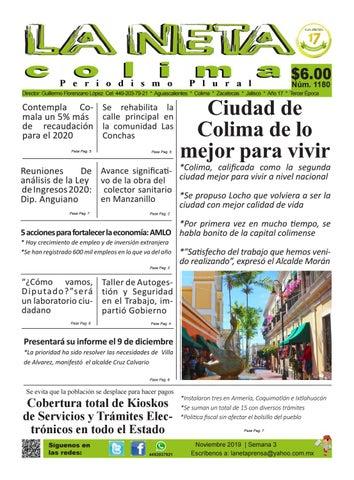 Periódico Semanal De Colima Y Aguascalientes Edición 1180