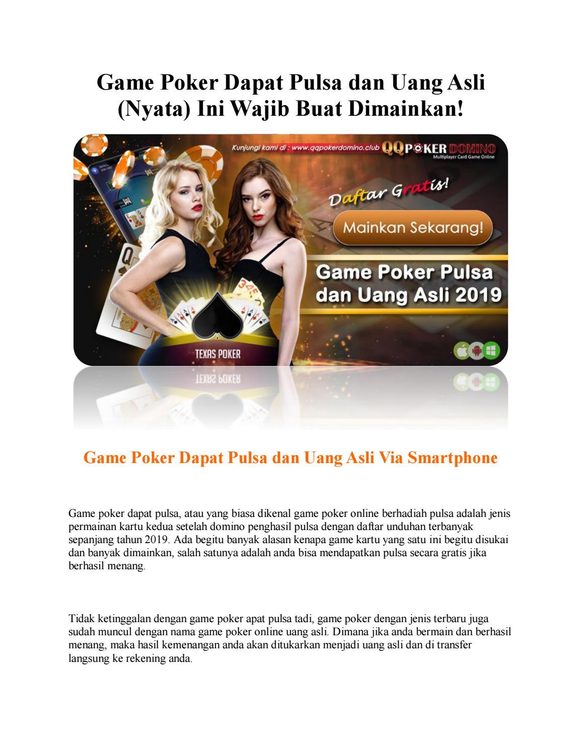 Game Poker Dapat Pulsa Dan Uang Asli Nyata Ini Wajib Buat Dimainkan By Anan Issuu