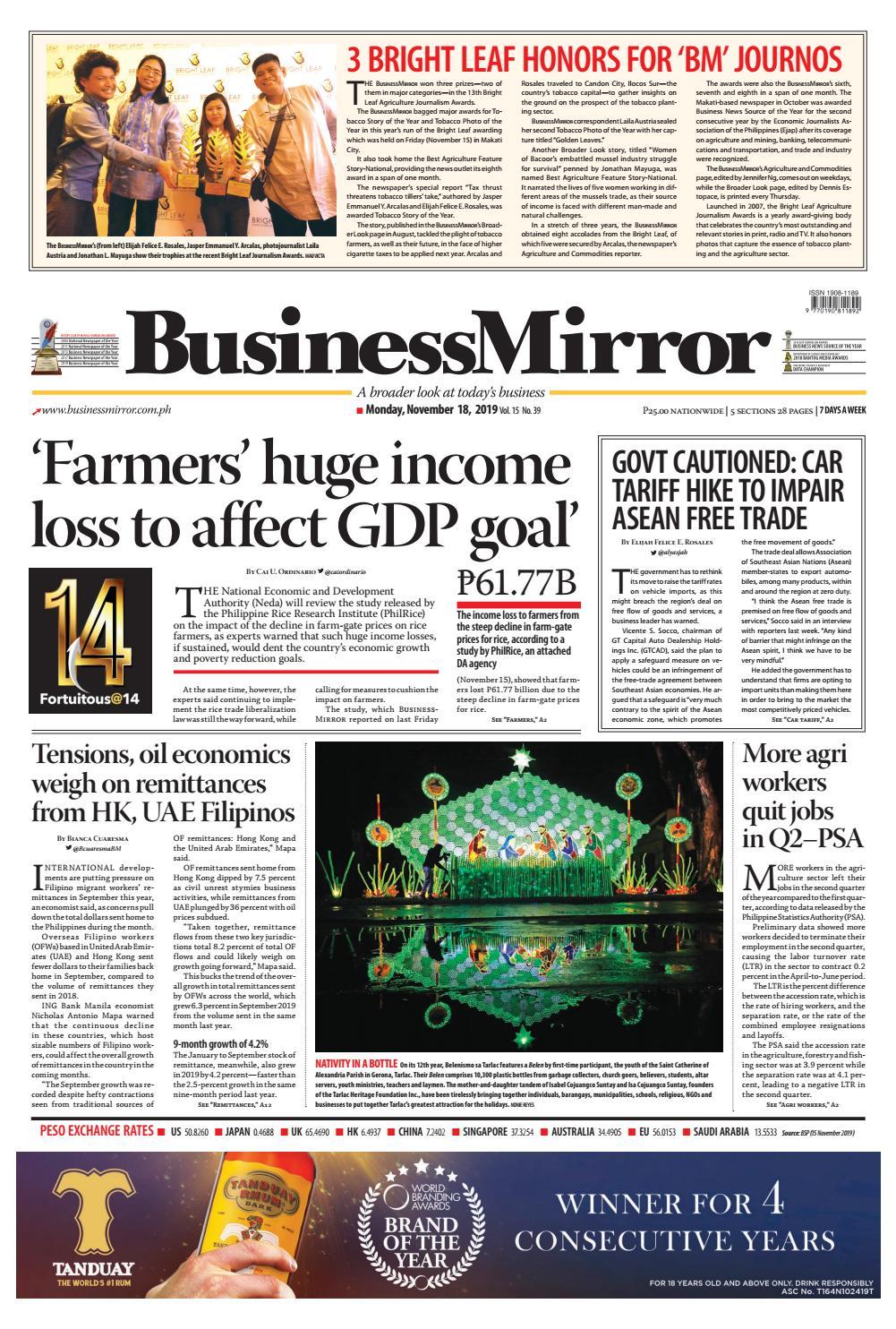BusinessMirror November 18, 2019 by BusinessMirror - issuu