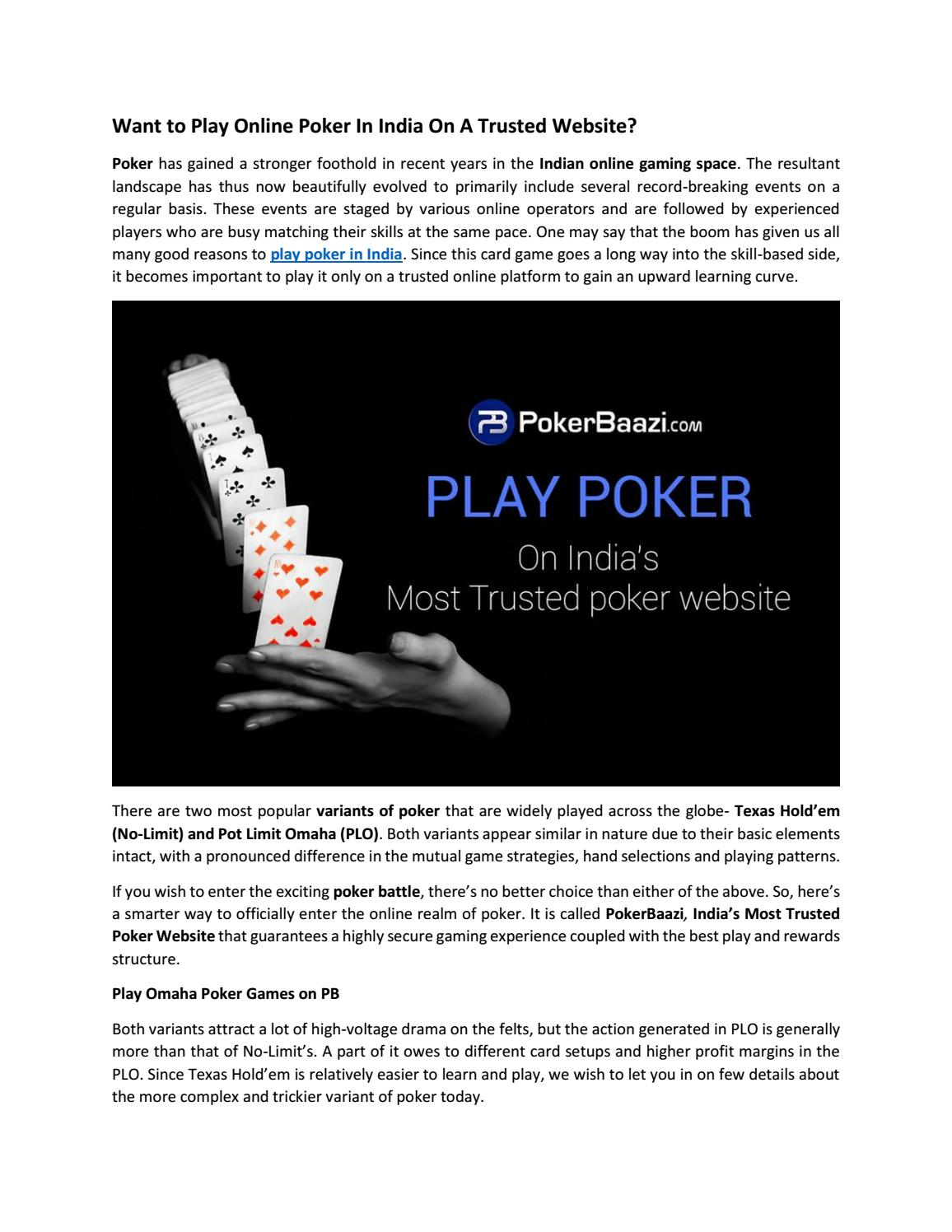 Want To Play Online Poker In India On A Trusted Website By Most Trusted Poker Online Sites In Delhi India Issuu