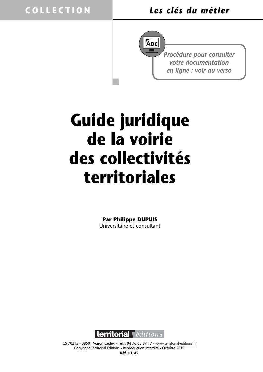 Guide juridique de la voirie des collectivités territoriales - Philippe Dupuis