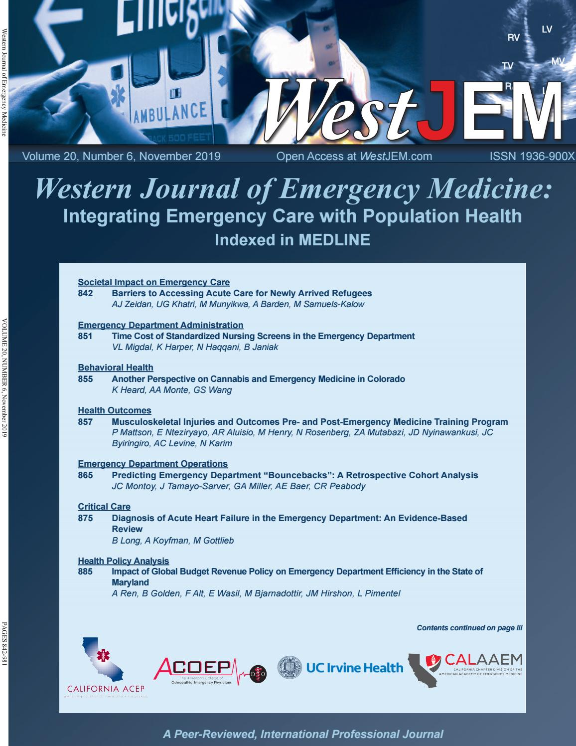 Volume 20, Issue 6 by Western Journal of Emergency Medicine - issuu