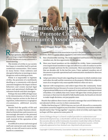 Page 43 of Common Courtesy:  How to Promote Civility in  Community Associations By Donna DiMaggio Berger, Esq., CCAL