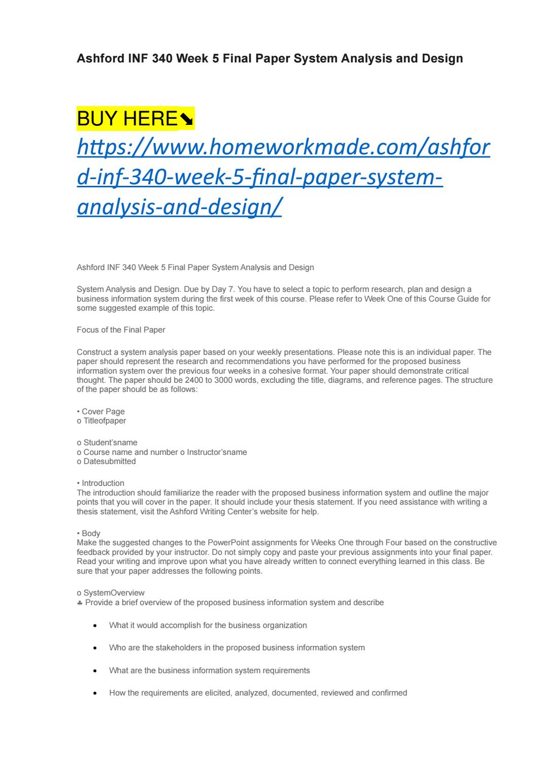 Ashford Inf 340 Week 5 Final Paper System Analysis And Design By Homeworkbox Issuu