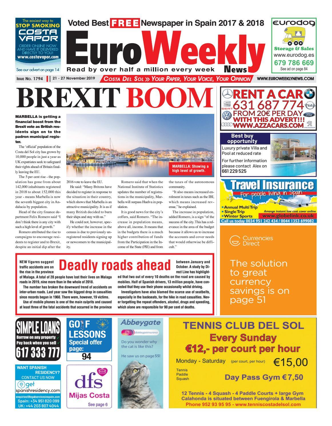 Porn Hub Prosta euro weekly news - costa del sol 21 - 27 november 2019 issue