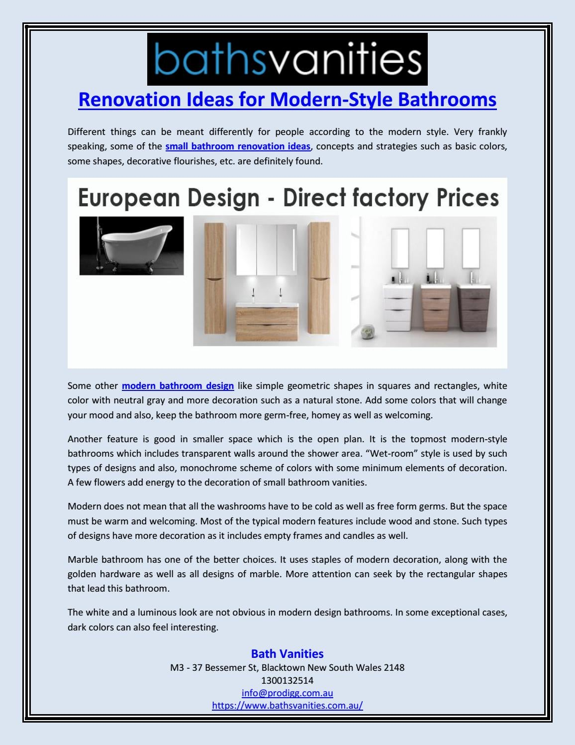 Renovation Ideas For Modern Style Bathrooms By Baths Vanities Issuu