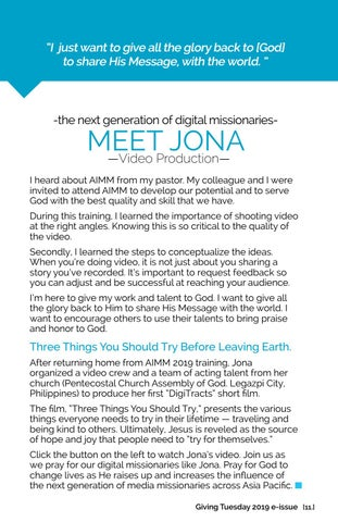 Page 11 of -the next generation of digital missionariesMEET JONA —Video Production—