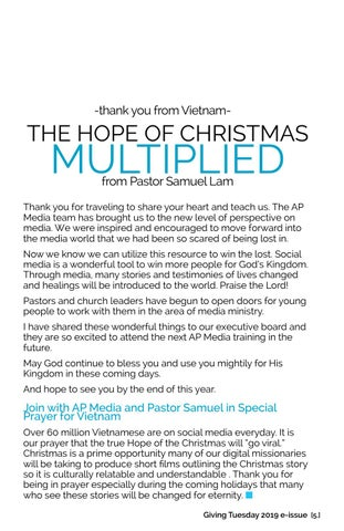 Page 5 of THE HOPE OF CHRISTMAS MULTIPLIED from Pastor Samuel Lam -thank you from Vietnam-