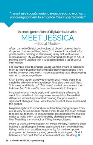 Page 8 of -the next generation of digital missionariesMEET JESSICA —Social Media—