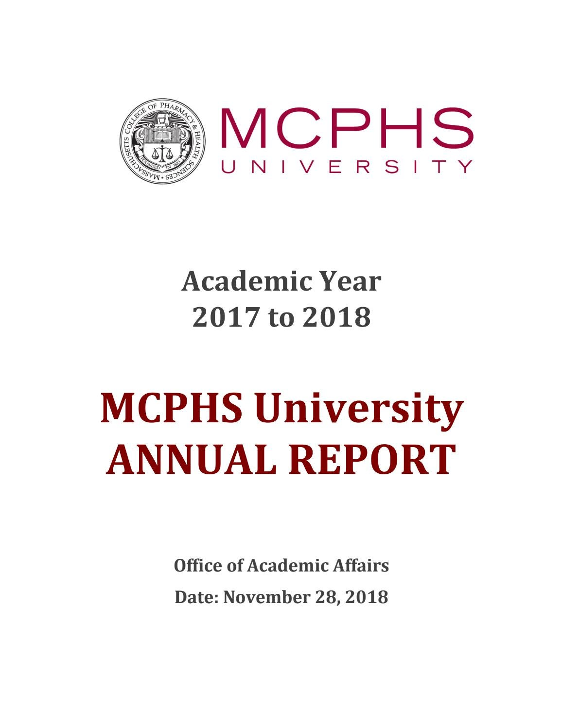 MCPHS University Annual Report by Massachusetts College of