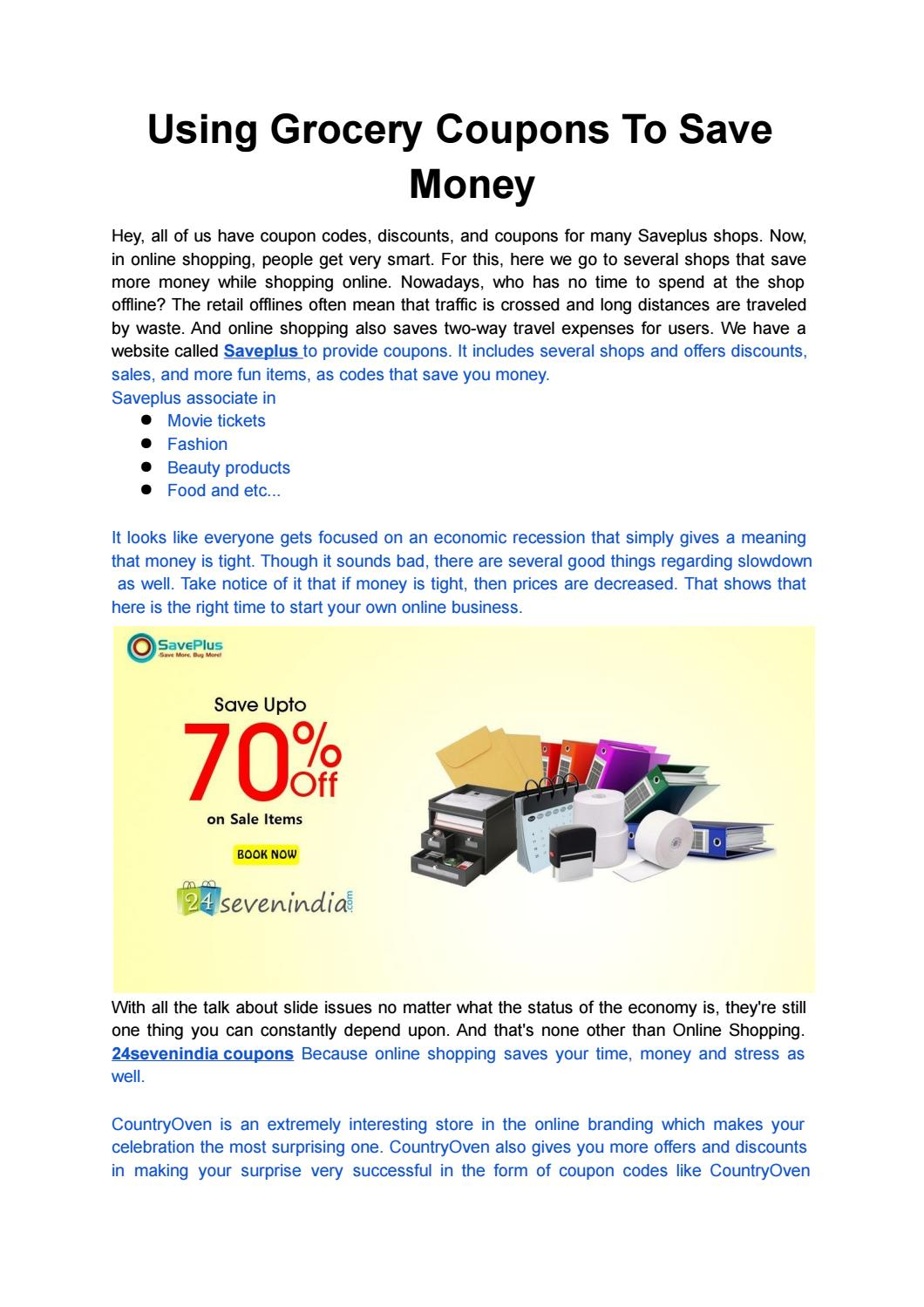 Using Grocery Coupons To Save Money By Saveplus Coupons Issuu