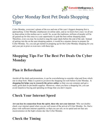 Cyber Monday Best Pet Deals Shopping Tips Canadavetexpress By Canadavetexpress Issuu