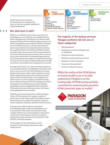 "Page 19 of Paragon Lab"" PFAS, Hype or Reality?"