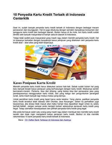 10 Bank Penyedia Kartu Kredit Terbaik Di Indonesia By Centerklik