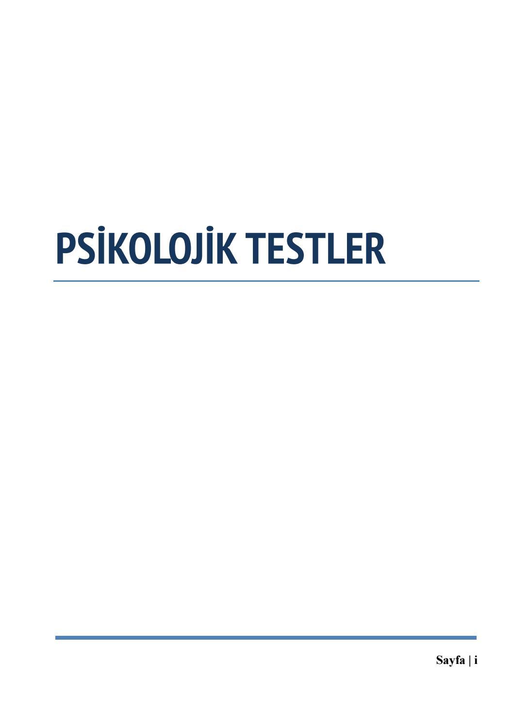 Psikolojik Testler By Prof Dr Bilal Semih Bozdemir Issuu