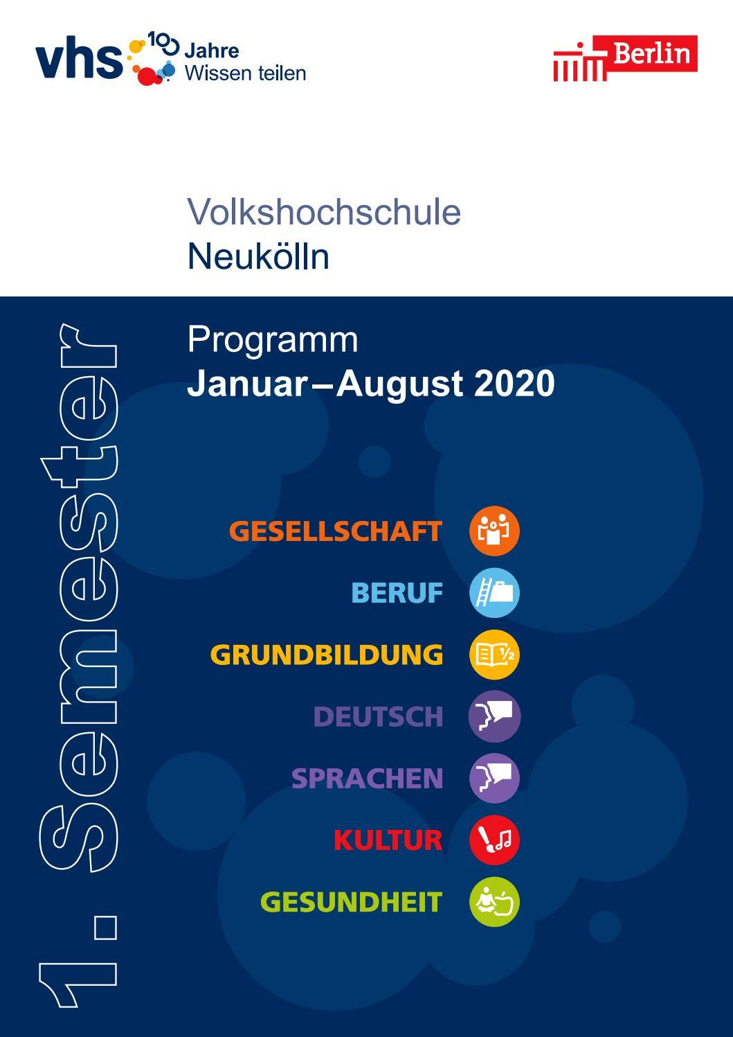 Lehrplan 1 Semester 2020 Vhs Neukölln Berlin By Sinissey