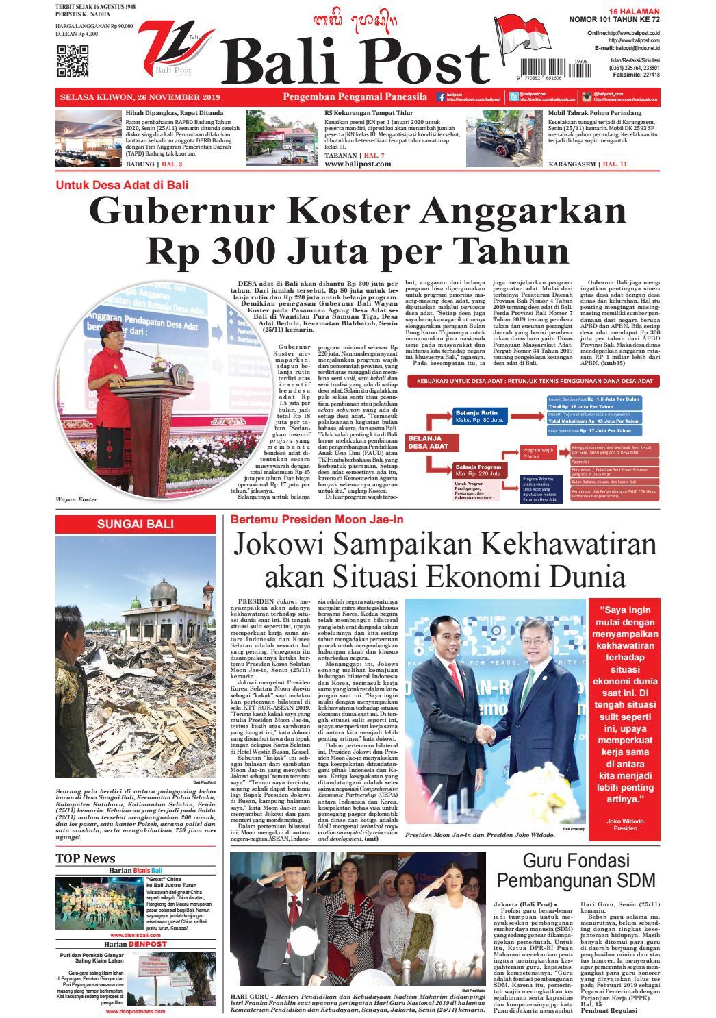 Edisi Selasa 26 Nopember 2019 Balipost Com By E Paper Kmb Issuu