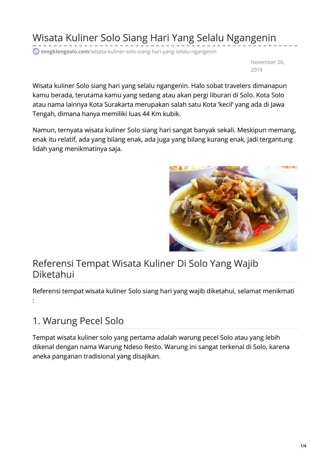 Wisata Kuliner Solo Siang Hari Yang Selalu Ngangenin By