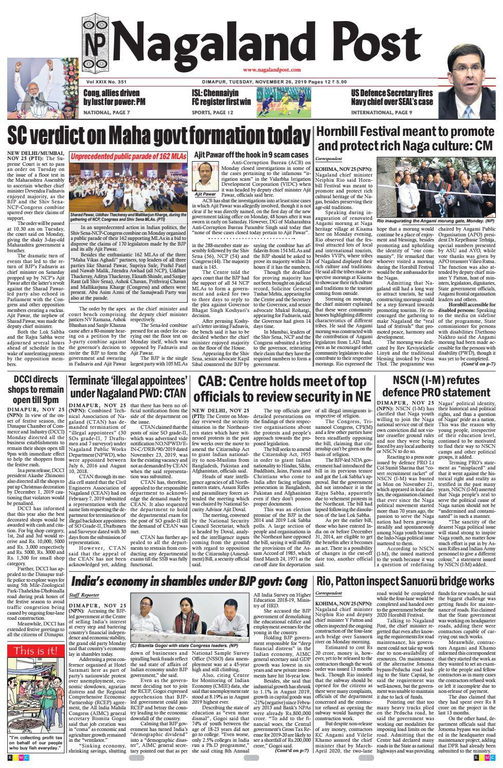 November 26, 2019 by Nagaland Post - issuu