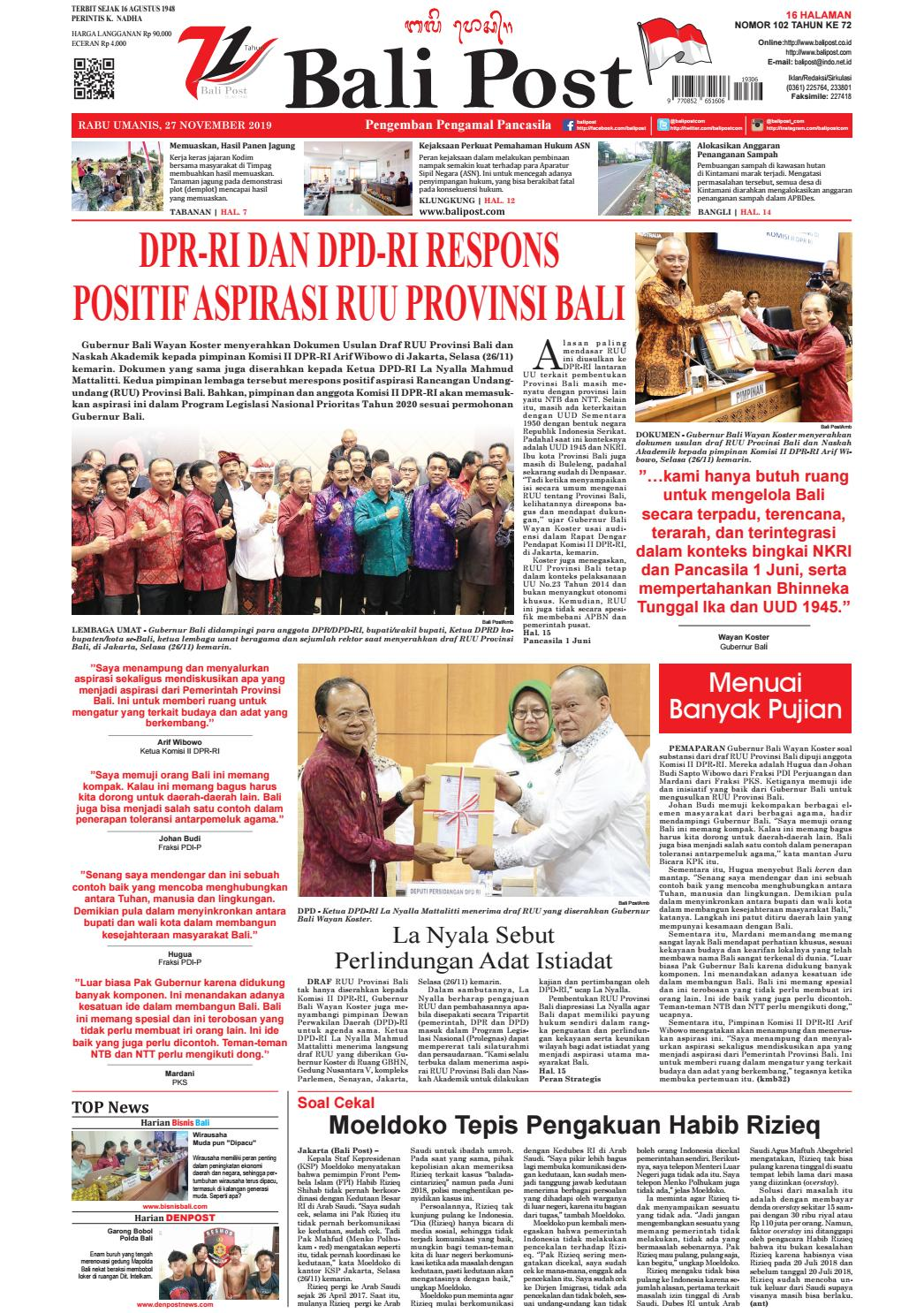 Edisi Rabu 27 Nopember 2019 Balipost Com By E Paper Kmb Issuu