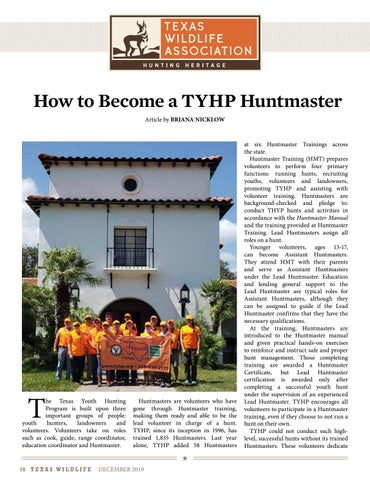 Page 18 of How to Become a TYHP Huntmaster