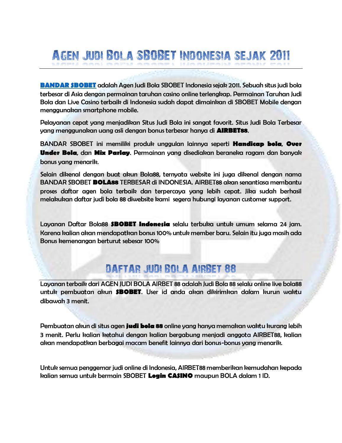 Agen Judi Bola Sbobet Indonesia Sejak 2011 By Macanbet88 Issuu