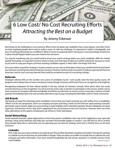 Page 25 of 6 Low Cost/No Cost Recruiting Efforts