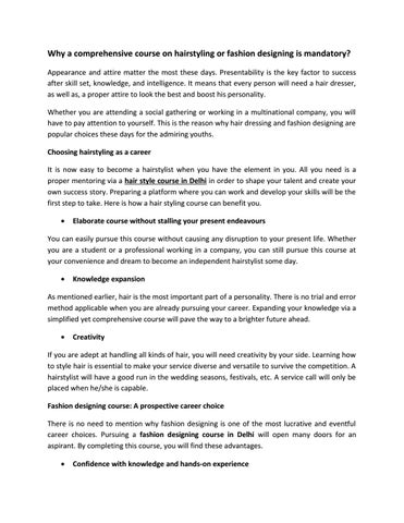 What Are Advantages Of Studying A Fashion Designing Course In A Reputed Institute By New Delhi Issuu