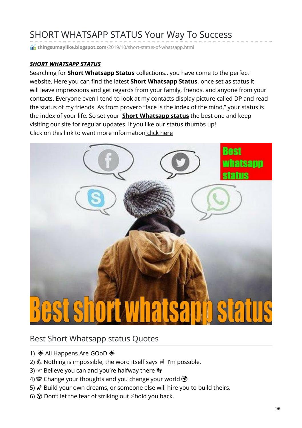 Short Whatsapp Status Your Way To Success By Mohammed Akmal