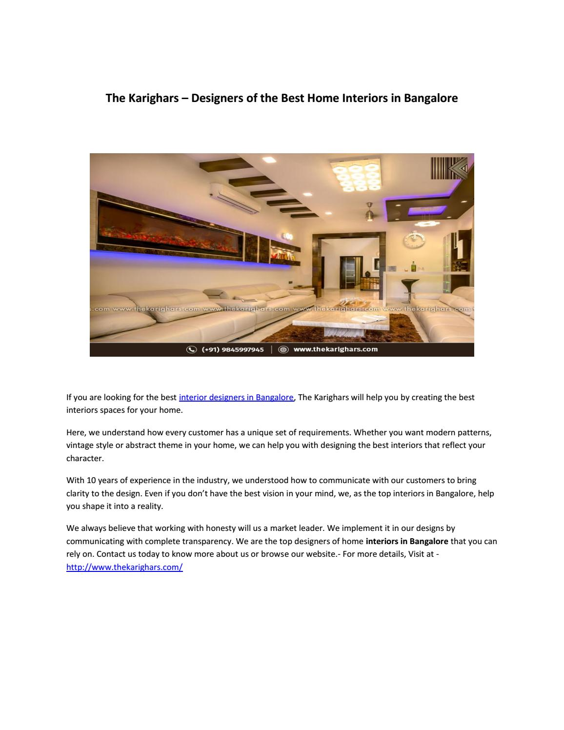 The Karighars Top Villa Interior Designer In Bangalore By The Karighars Issuu