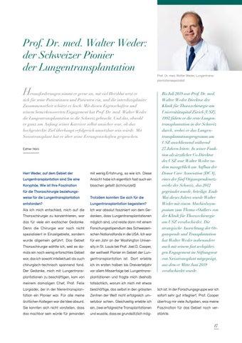 Page 17 of Prof. Dr. med. Walter Weder: der Schweizer Pionier der Lungentransplantation