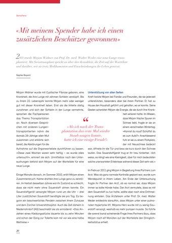 Page 20 of Swisstransplant Magazin Nr. 41 / Dezember 2019
