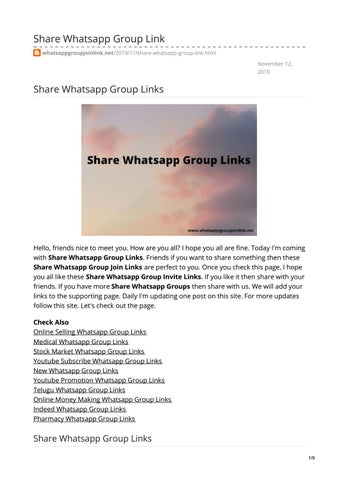 Share Whatsapp Group Links by Whatsapp Group Join Link - issuu