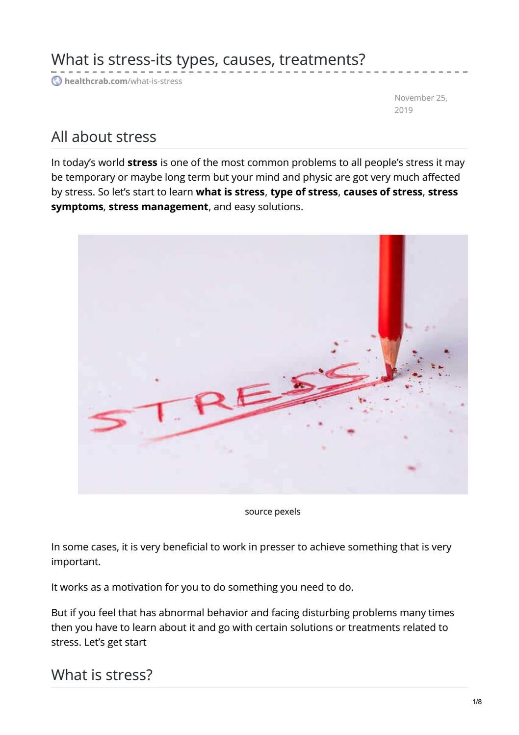 What Is Stress Its Types Causes Treatments By