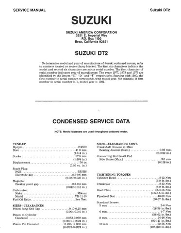 Suzuki Dt8 Outboard Motors Service Repair Manual By N633l7iw Issuu