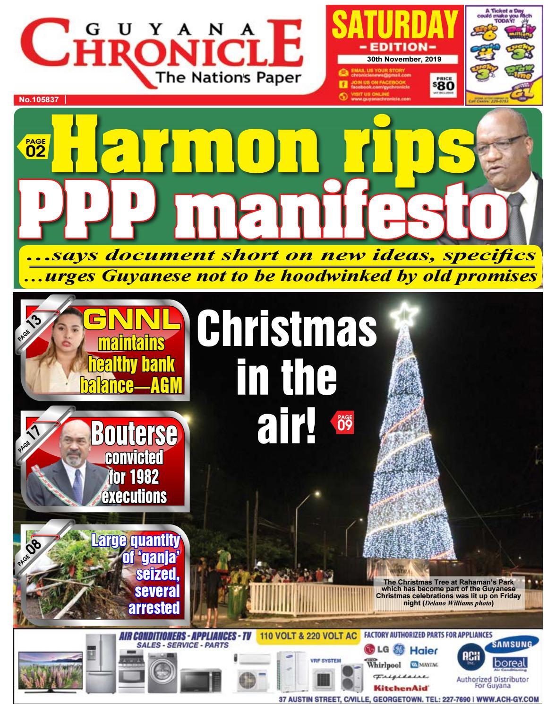 Guyana Chronicle E Paper 11 30 2019 By Guyana Chronicle E