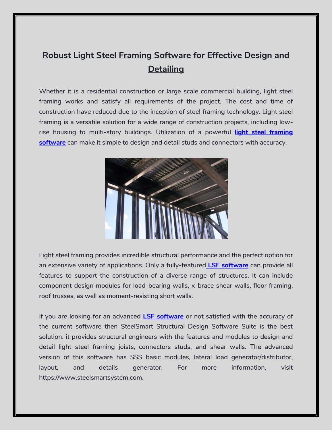 Robust Light Steel Framing Software For Effective Design And Detailing By Steel Smart System Issuu