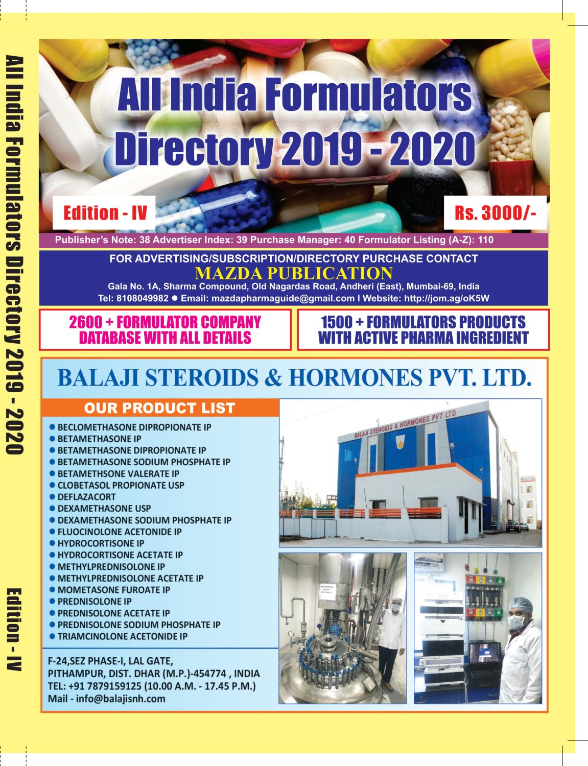 All India Formulators Directory 2019 - 2020 by The Mazada