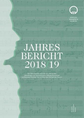 Jahresbericht Der Stiftung Mozarteum 2018 2019 By Stiftung