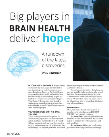 Page 30 of Big Players in Brain Health Deliver Hope