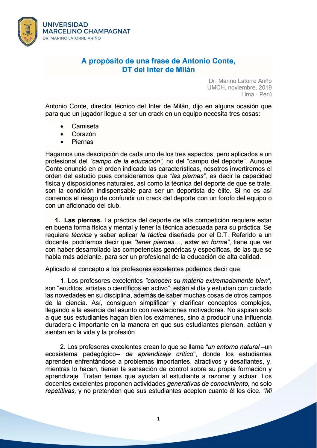 A Propósito De Una Frase De Antonio Conte Dt Del Inter De